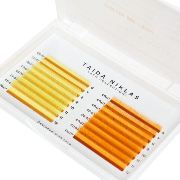 rzęsy żółte i pomarańczowe